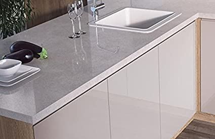 Egger Square Edge Cosmic White Effect Kitchen Bathroom Laminate Worktop Offcut Work Surface 38mm Breakfast Bar - 3m x 1200mm x 8mm Splashback
