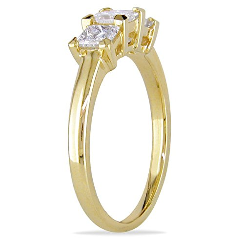 0.58 Carat Three Stone Engagement Ring on Sale with Princess cut Diamond on 18K Yellow gold