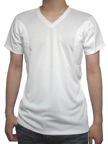 (クレール)CREAL 脇汗パット付きシャツ(Vネック 白) 吸水速乾/接触冷感/抗菌防臭