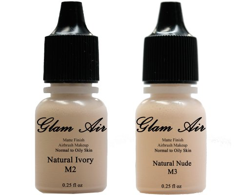 (2)Two Glam Air Airbrush Makeup Foundations M2 Natural Ivory & M3 Natural Nude For Flawless Looking Skin Matte Finish For Normal To Oily Skin (Water Based)0.25Oz Bottles
