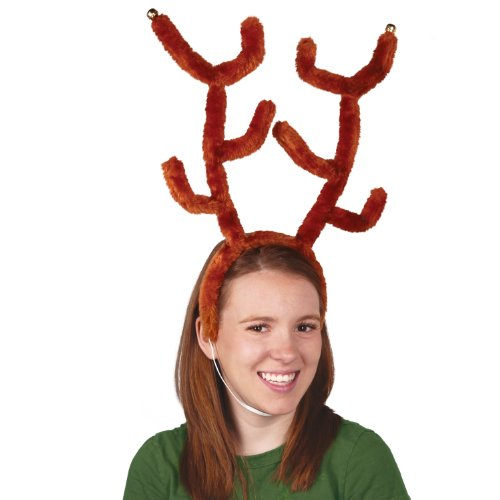 Deluxe Reindeer Antlers w/Bells Party Accessory (1 count) (1/Pkg)