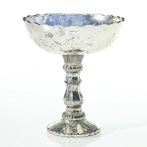 Mercury Glass Compote Dish, Bowl Centerpiece with Pedestal, 8 x 9.25 inches (Centerpiece Pedestal Bowl compare prices)