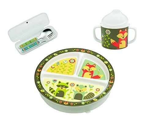 Sugarbooger What Did the Fox Eat? Set - Divided Plate, Sippy Cup, and Utensils - 1