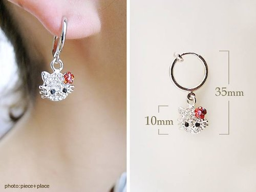 Made with Rhinestone Kitty-Chan wind pipe earrings pink