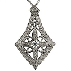 Vintage Diamond Pendant With 0.55cts Of Fine White Diamonds And Filigree In 18K White Gold Antique Style Diamond Pave Pendant