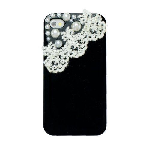 Ipremium Case® Pearl Series - Pearls On Pretty Lace Garter Iphone 4/4S Case - Perfect Gift - At&T, Verizon, Sprint (Package Includes Extra Crystals & Screen Protector) (Black)