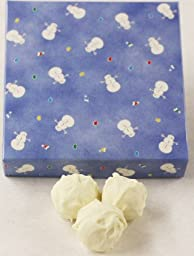 Scott\'s Cakes White Chocolate Covered - Chocolate Raspberry Fudge Truffles in a 1 Pound Snowman Box