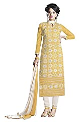 Yellow Color chanderi Embroidered Straight Salwar Suit Unstitched Dress Materials
