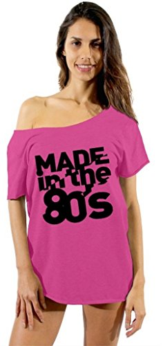Made in the 80's Black Logo Off Shoulder Top - 6 Colors - S to XXL