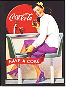 "Coca-Cola Vintage Advertising Poster Reproduction ""HAVE A COKE"" - Girl in violet purple"