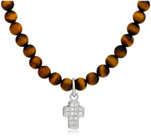 Sterling Silver Tiger Eye Beaded Necklace with Cubic Zirconia Cross, 20