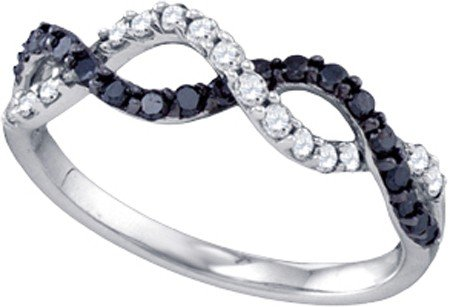 10k White Gold Natural Black and White Diamonds Infinity Ring