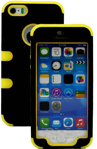 Mylife (Tm) Sun Glow Yellow And Black - Robot Series (Neo Hypergrip Flex Gel) 3 Piece Case For Iphone 5/5S (5G) 5Th Generation Itouch Smartphone By Apple (External 2 Piece Fitted On Hard Rubberized Plates + Internal Soft Silicone Easy Grip Bumper Gel + Li