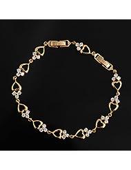 X&Y ANGEL-Crystal Heart Link Real 18K Gold Filled Clip Chain Women Bracelet Jewelry SL0001