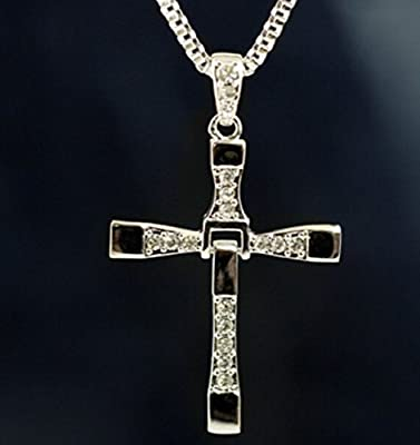 Btime Christmas Men Cross-Shaped Small Square Accumulation Pendant Necklace
