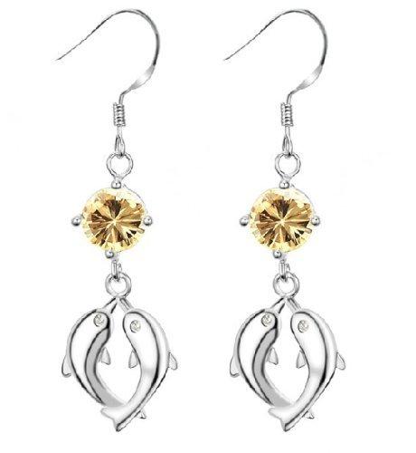 Hhbuy Jewellery Fashion Women'S Earrings Double Dolphin 18X15Mm Elegant Gold Cz Crystal Pendant Fish Hook Earring Quality Guarantee New Design Dangles Earring