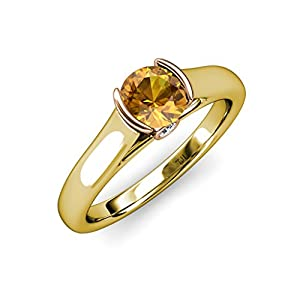 Citrine and Diamond 2 Tone Solitaire Plus Engagement Ring 1.03 ct tw in 14K Yellow Gold.size 7