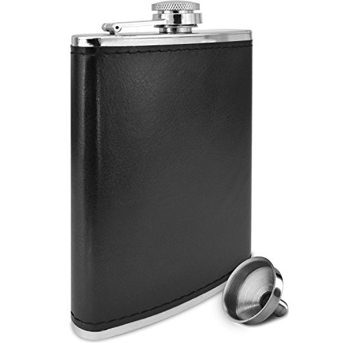 [Premium 8 Oz Black Soft Touch Leather Wrap Outdoor Adventure - Leak Proof - Flask 304 Stainless Steel Liquor Hip Flask by Future Hydrate - Includes Free Bonus Funnel (Black Faux Leather Wrap,] (Cheap Nerd Glasses)