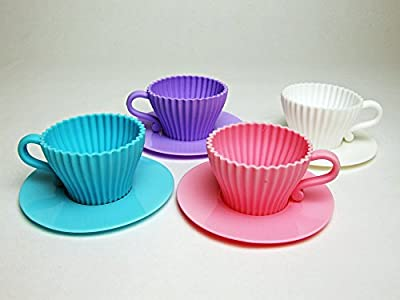 Silicone Baking Cups / Silicone Cupcake Cups / Cupcake Liners / Muffin Molds / Oven-To-Table Silicone Bakeware/ 8 piece, 4 Tea Cups and 4 Saucer Baking Cups