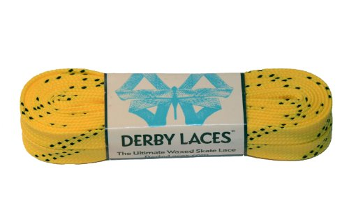 Yellow 96 Inch Waxed Skate Lace - Derby Laces for Roller Derby, Hockey and Ice Skates, and Boots