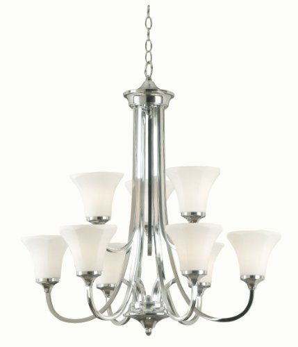 B0038GQJRG Kenroy Home 91679PN Ewing 9 Light Chandelier, Polished Nickel Finish