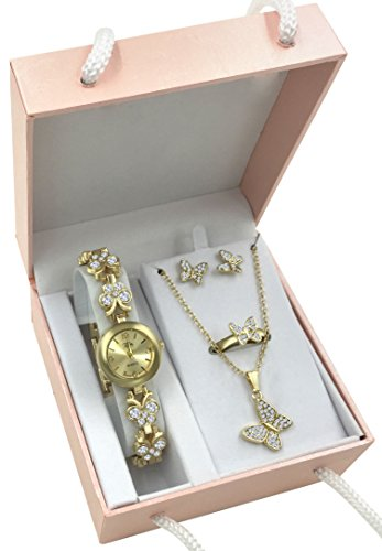 Gold Tone Butterfly Watch & Jewelry Gift Set for Her Women Girlfriend Wife Sister Daughter