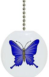 Carolina Hardware and Decor 1078F Blue Butterfly Ceramic Fan Pull