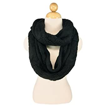 Black Thick Braid Infinity Twist Cable Knit Scarf