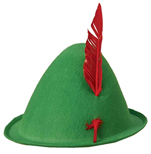 Economy Alpine Hat with Feather,Green,one size