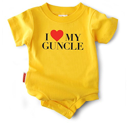 "Funny Baby Clothes ""I Heart My Guncle"" Yellow Bodysuit, Unisex (6-12 months)"