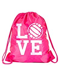 Love Volleyball Sackpack Drawstring Back Pack (One Size, Pink Square Love Volley)