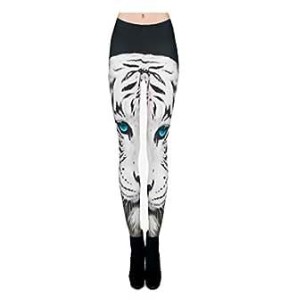3D White Tiger Fashion Women Leggings Space Galaxy Leggins Tie Dye