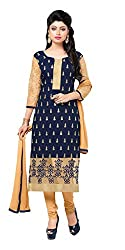 Blissta Navy Blue Chanderi Unstitched Embroidered Dress Material