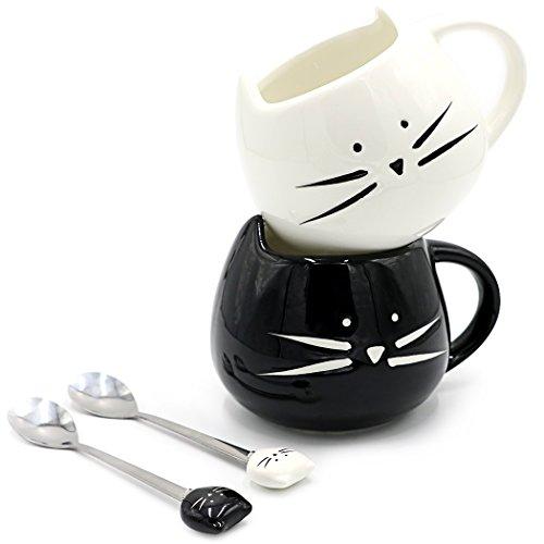 Teagas Cat Coffee Mugs for Boyfriend or Husband - Black & White Ceramic Cat Coffee Mugs and Cute Cat Spoons Set (Black White Coffee Mug compare prices)