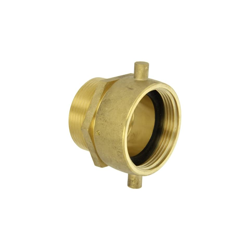 Moon 363 2522561 Brass Fire Hose Adapter, Pin Lug Swivel, 2 1/2 NH Swivel Female x 2 1/2 NPT Male