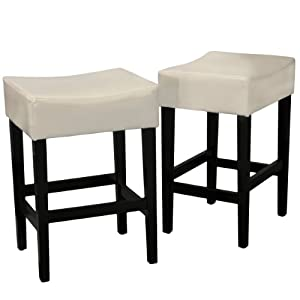 Amazon Com Duff Backless Ivory Leather Counter Stools