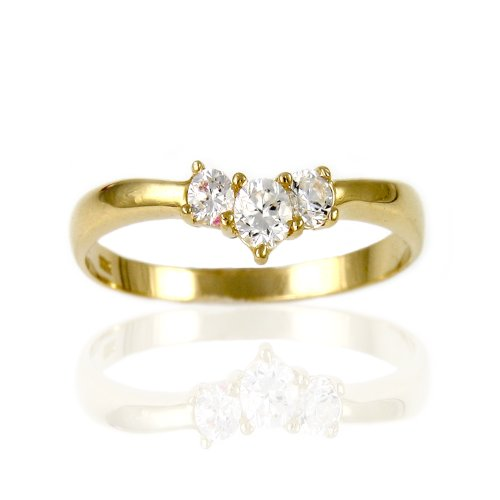 10k Yellow Gold 3 Stones High Quality Rings (8.75)