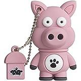 Tribe FD001427 Animals (Tiere) The Originals Pendrive Figur 8 GB Speicherstick Lustig USB Flash Drive 2.0 Memory Stick Datenspeicher, Schlüsselanhänger Kappenhalter, Ennio das Schwein, Rosa