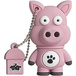 Tribe FD001427 Animals (Animali) The Originals Pendrive 8 GB Simpatiche Chiavette USB Flash Drive 2.0 Memory Stick Archiviazione Dati, Portachiavi, Ennio il Maiale, Rosa