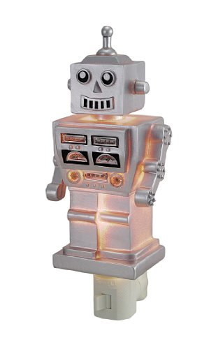 Children`S Retro 1960`S Silver Robot Night Light Nite Lite Nightlight front-857072