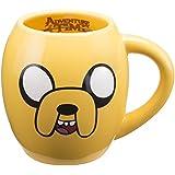 Vandor 13062 Adventure time 18 oz Oval Ceramic Mug, Yellow and Black