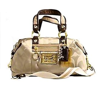 Coach Signature Poppy Satchel Convertiable Bag Purse 15860 Khaki Bronze