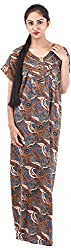 Milan Collection Women's Printed Dressing Gowns & Kimonos (MC-206_38, Brown, Size - 38)