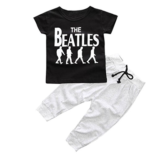 1Set Toddler Kids Baby Boy T-shirt Tops+Long Pants Trousers By FEITONG (Size:12M, black)