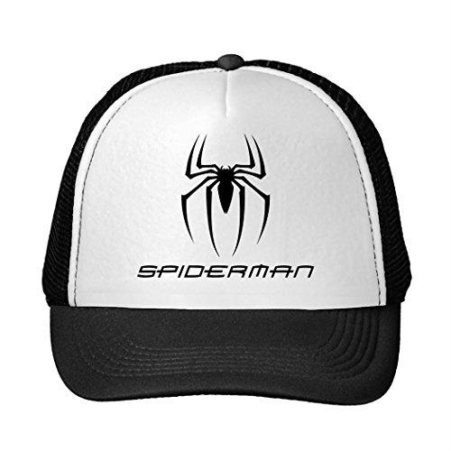 Opeeda Black Adjustable Trucker Hat Snapback Caps For Men/Women Printed Spiderman Symbol