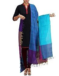 Unnati Silks Women Blue-Multicolor Pure Handloom Andhra Khadi Cotton dupatta