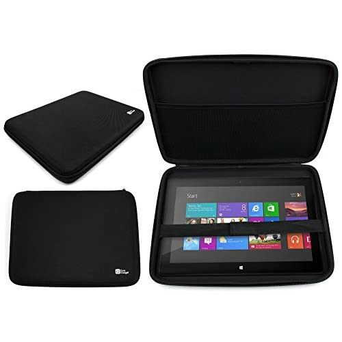 DURAGADGET  マイクロソフト Surface Pro 3(Core i5/128GB/Office付き) 単体モデル [Windowsタブレット] MQ2-00015専用 丈夫で固いジッパー付ケース 内側に伸縮性ストラップ付 (黒)