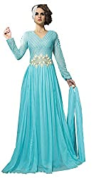 Jiya Women's Net Embroidered Gown with Dupatta (BTTCLZ1008_FreeSize_Blue)