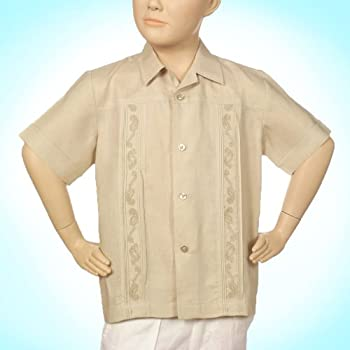 Boys linen short sleeve natural embroidered shirt.