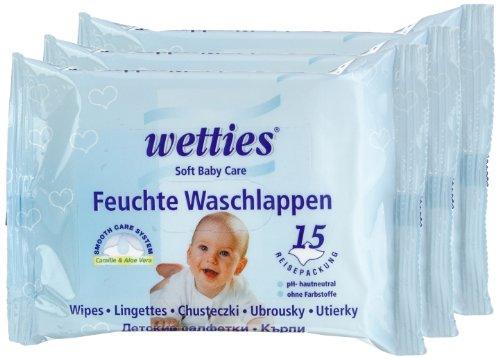 Wetties Baby Feuchte Waschlappen 3 x 15 Tücher, 1er Pack (1 x 45 Tücher)